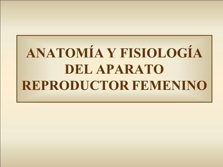 ANATOMÍA Y FISIOLOGÍA DEL APARATO REPRODUCTOR FEMENINO | anatomia ...