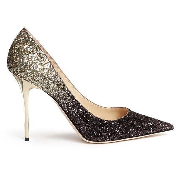 a204dc42de9b Jimmy Choo 'Abel' coarse glitter pumps (1 070 750 LBP) ❤ liked on Polyvore  featuring shoes, pumps, heels, metallic, jimmy choo shoes, heels & pumps,  ...