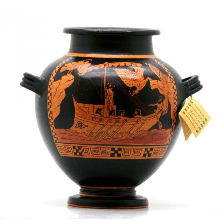 Odysseus Sirens Stamnos Ancient Greek Ceramic Vase Pottery Copy