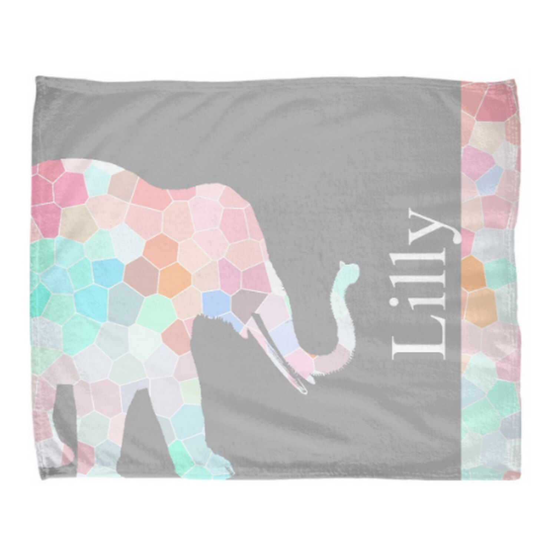 Elephant Throw Blanket Pastel Throw Blanket Geometric Pastel ...