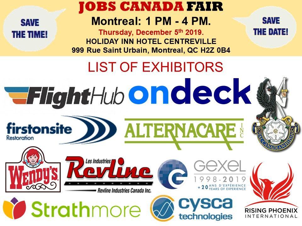 List Of Hiring Companies For Montrealjobfair On December 5th