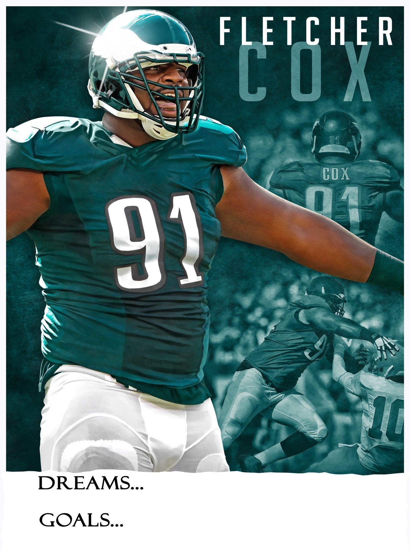 Philadelphia Eagles Fletcher Cox Dreams   Goals 11x15 Poster  6a5c51432