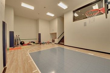 Graham Hill Transitional Home Basketball Court Indoor Sports Court Indoor Basketball Court