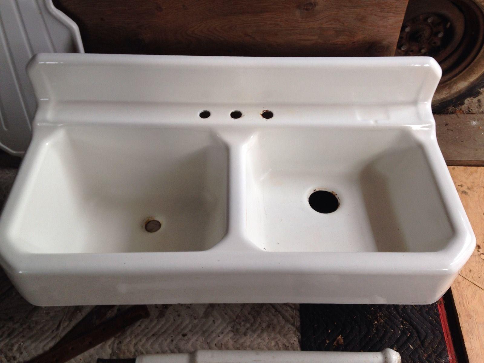 Antique 1931 Kohler Farmhouse White Cast Iron Apron Kitchen Sink ...