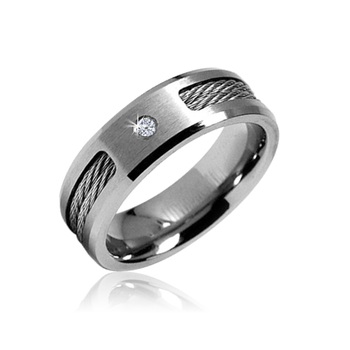 004 Carat Diamond Titanium Mens Wedding Band Ring With Stainless Steel Cable Inlay