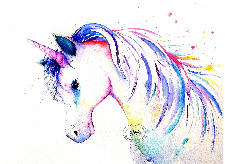 Beautiful Girls nursey bedroom watercolour effect unicorn art print