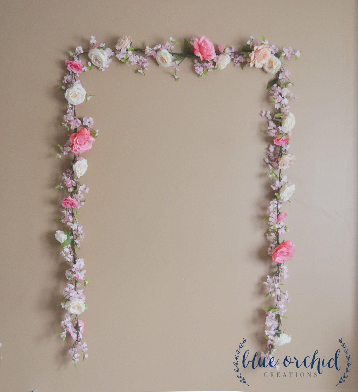 Wedding backdrop in pink with cherry blossoms pink rose wedding wedding backdrop in pink with cherry blossoms pink rose wedding garland garden rose wedding decoration silk flower garland mightylinksfo