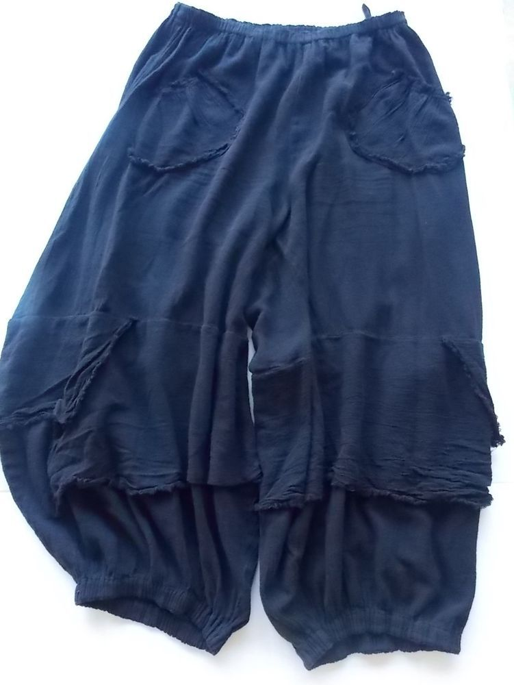 3818f0e5269a Oh My Gauze Pants Black cropped Pull on Elastic Waist Ankles Wide Womens  pockets #OhMyGauze #Cargo