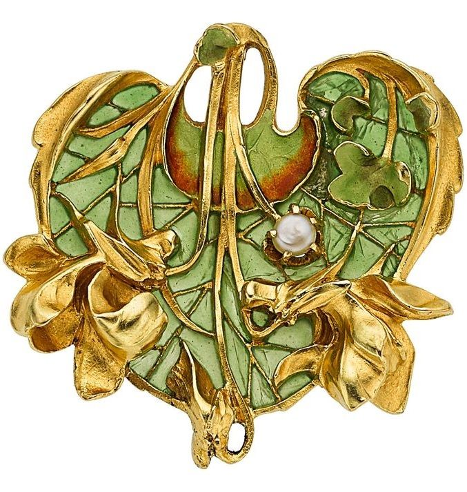 Art Nouveau Plique-à-Jour Enamel, Pearl, Gold Pendant, Lucien Gautrait. Applied with plique-à-jour enamel, accented by a freshwater pearl measuring 3.00 mm, set in 18k gold, marked L. Gautrait.