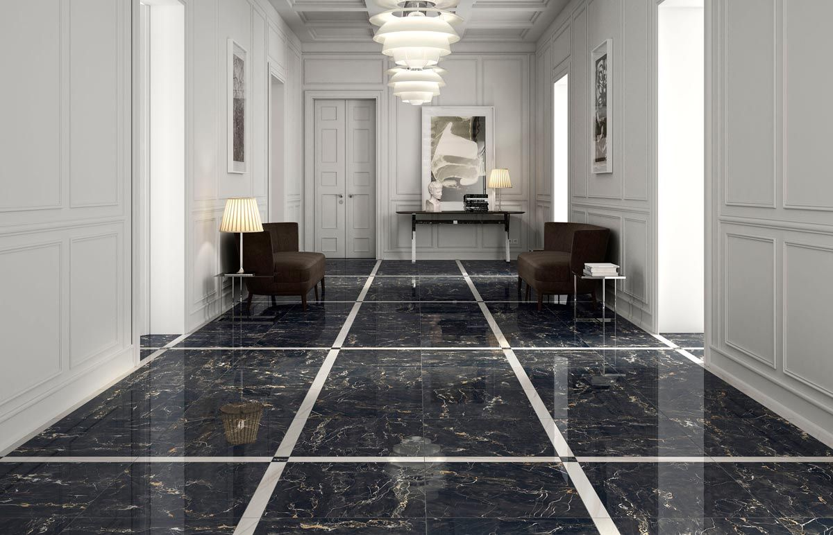 Jewels Encore Marble Effect Tiles Flooring Black Floor Tiles