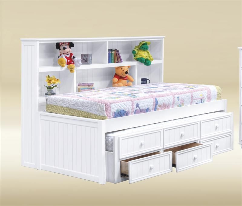 Details About White 3 Piece Storage Drawers Twin Bed Box: Bianca White Full Size Bookcase Bed
