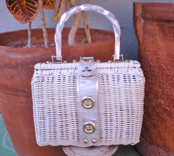 Vintage White Straw Purse with Lucite Trim and Handle by PopsCandy, $50.00