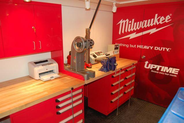 Inside the Milwaukee Tool Mobile Shop Trailer designed by Aardvark.