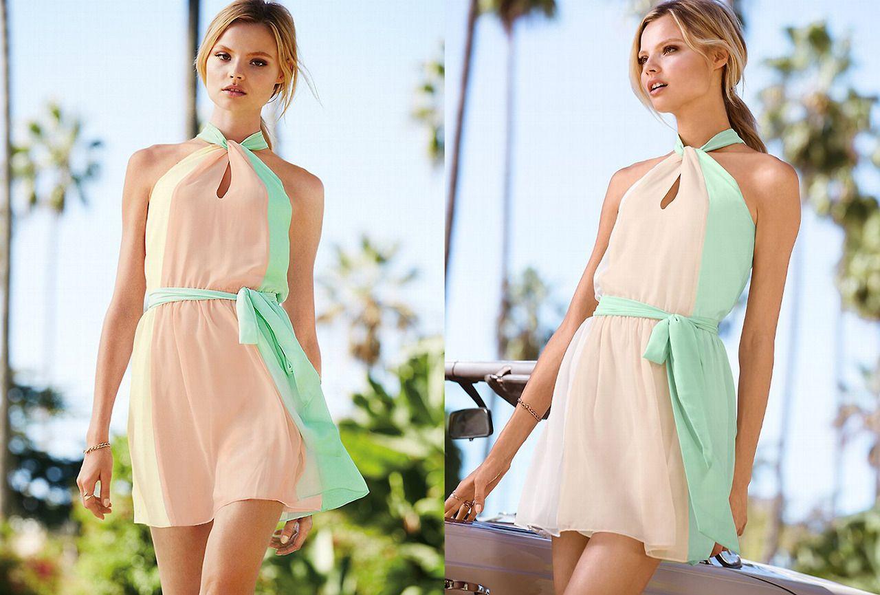 Lovely 50 S Inspired Pastel Dress Victoria S Secret Colorblock Halter Dress Summer Dresses For Women Summer Dresses Chiffon Halter Dress [ 865 x 1280 Pixel ]