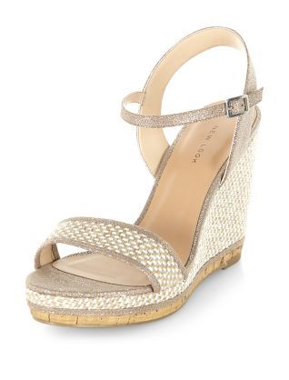 b97485000b6 Gold Contrast Cork Sole Wedges | New Look | shoes | Shoes, Wedges ...
