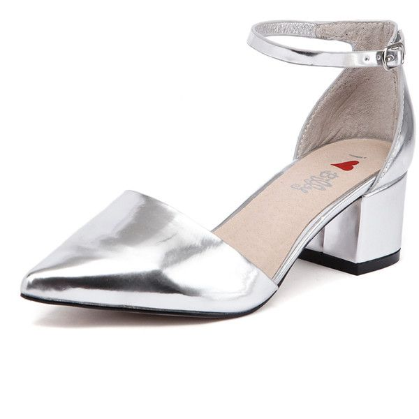 I Love Billy Ilda Silver Mirror (90 AUD) ❤ liked on Polyvore featuring shoes, pumps, shiny shoes, polish shoes, block heel shoes, silver mid heel shoes and silver shoes