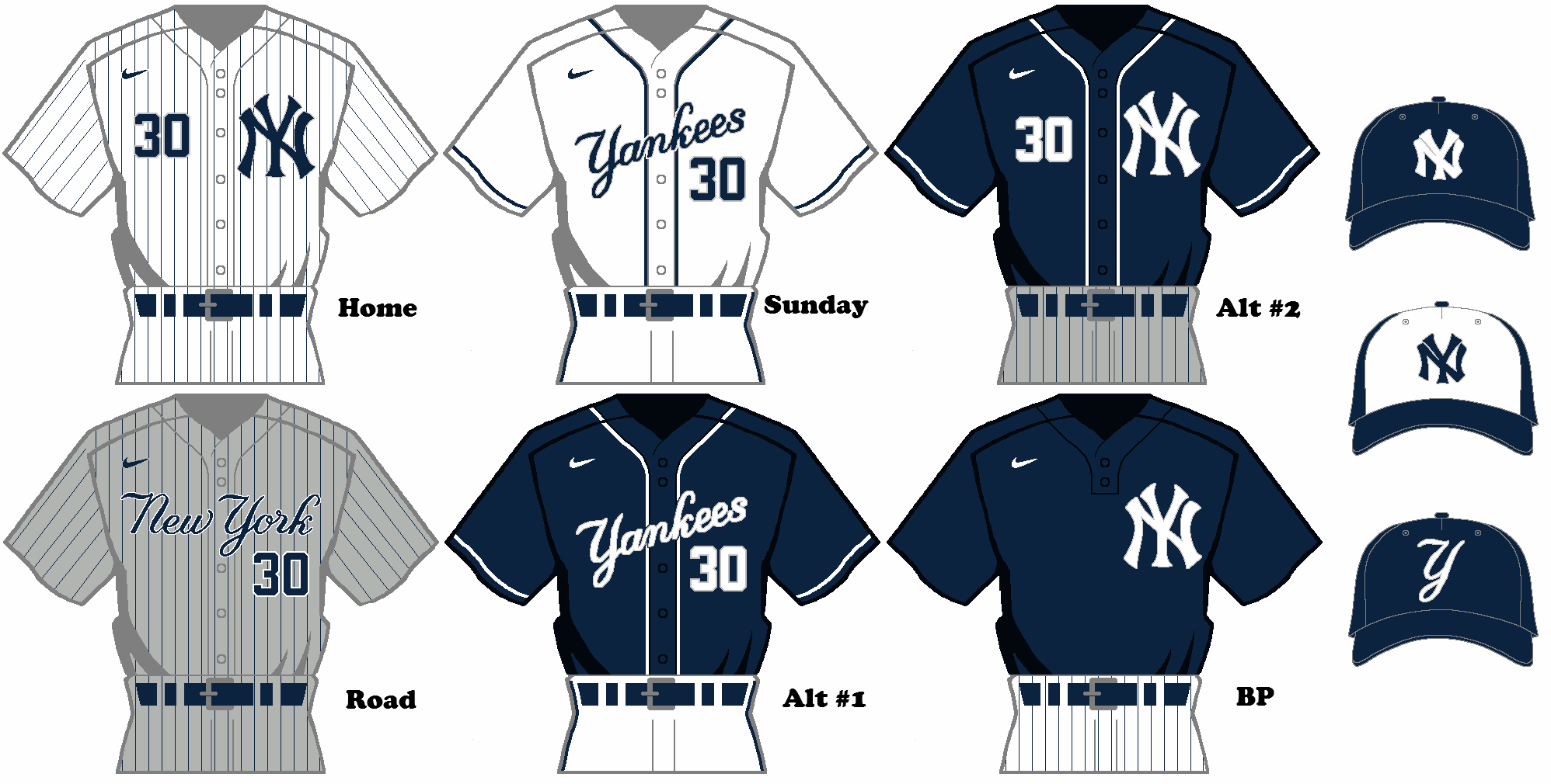 Nike MLB Rebrand Concept , New York Yankees Uniform Set