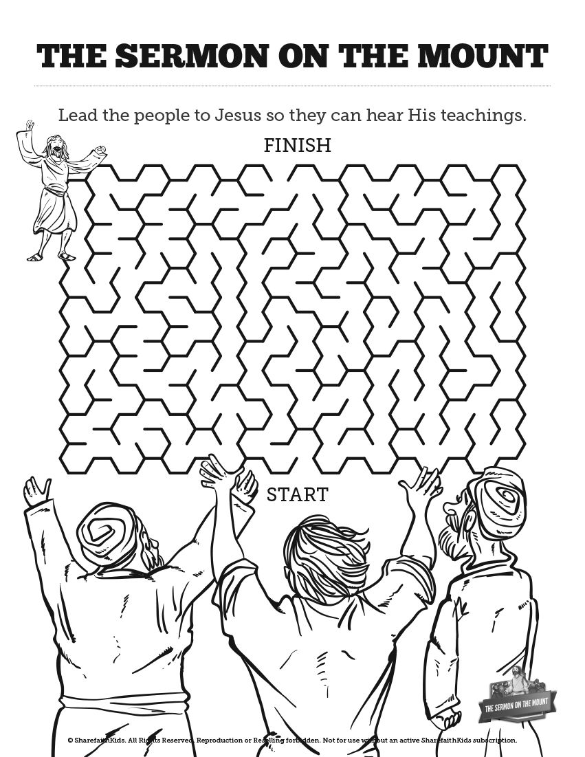 Sermon On The Mount Beatitudes Bible Mazes With Just Enough
