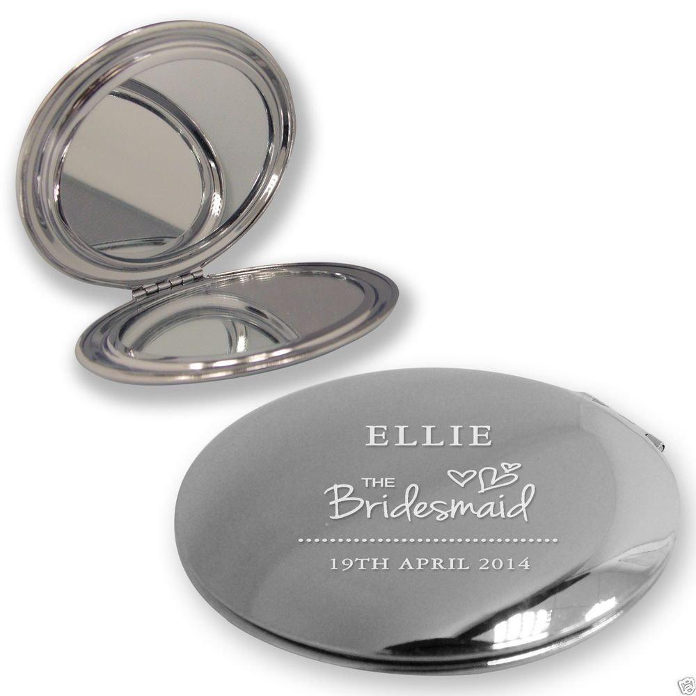 Personalised engraved BRIDESMAID COMPACT MIRROR wedding thank you ...