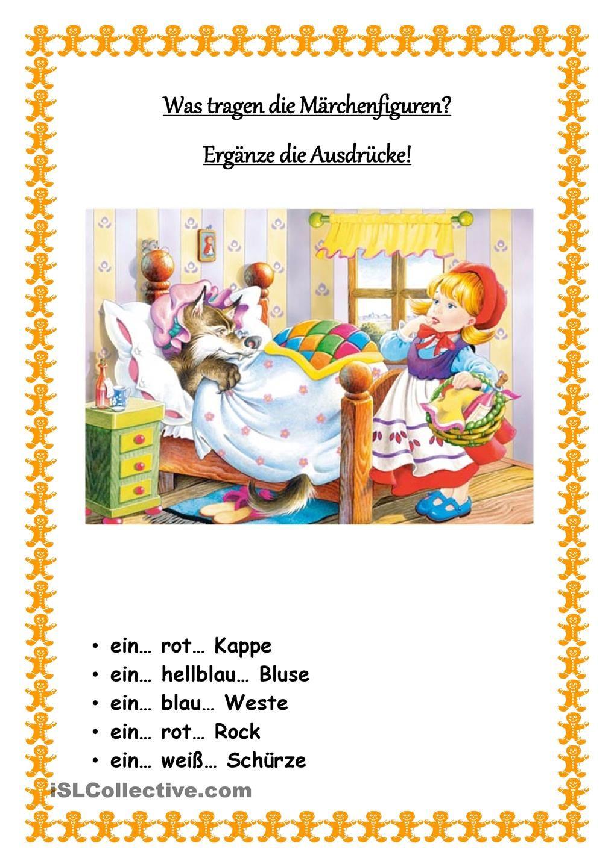 Was tragen die Marchenfiguren? | Arbeitsblätter, Deutsches alphabet ...