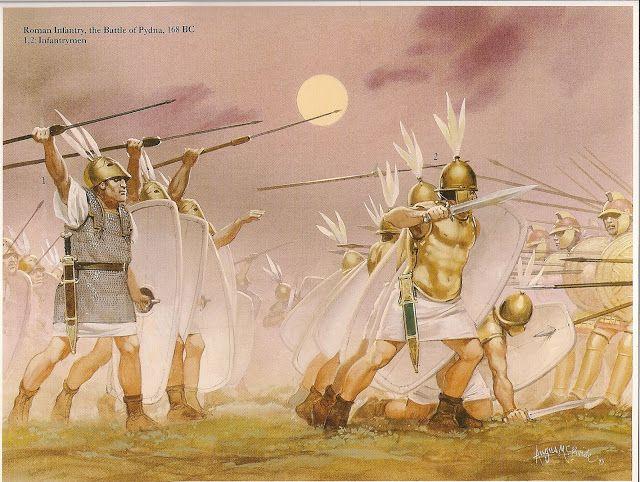 Legionari all'attacco della falange macedone