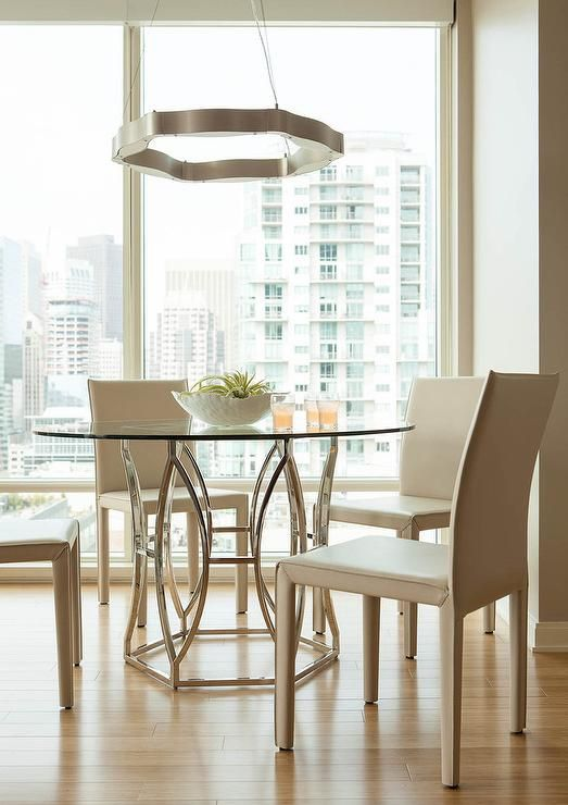 Delightful Gorgeous Contemporary Dining Room Features A Worlds Away Abigail Silver  Leaf Dining Table Seating Four Crate Nice Ideas