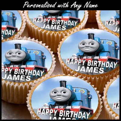 24 X Personalised Thomas Tank Cup Cake Toppers With Any Name With
