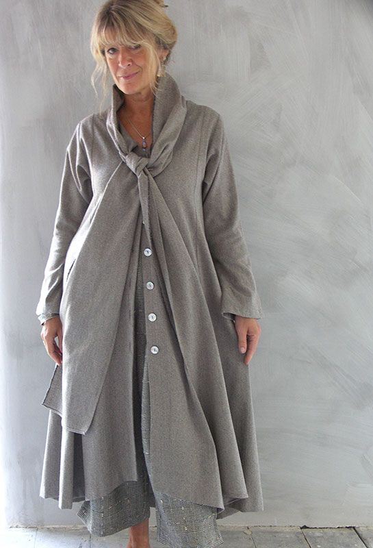 Tie Dress in stone herringbone linen over Crop Penny Trousers in silk/wool mix.