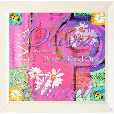 "Buy Art For Less 'Olivia Meaning Peace, Kind One Ladybugs and Flowers' Framed Painting Print Size: 18"" H x 18"" W x 1"" D"
