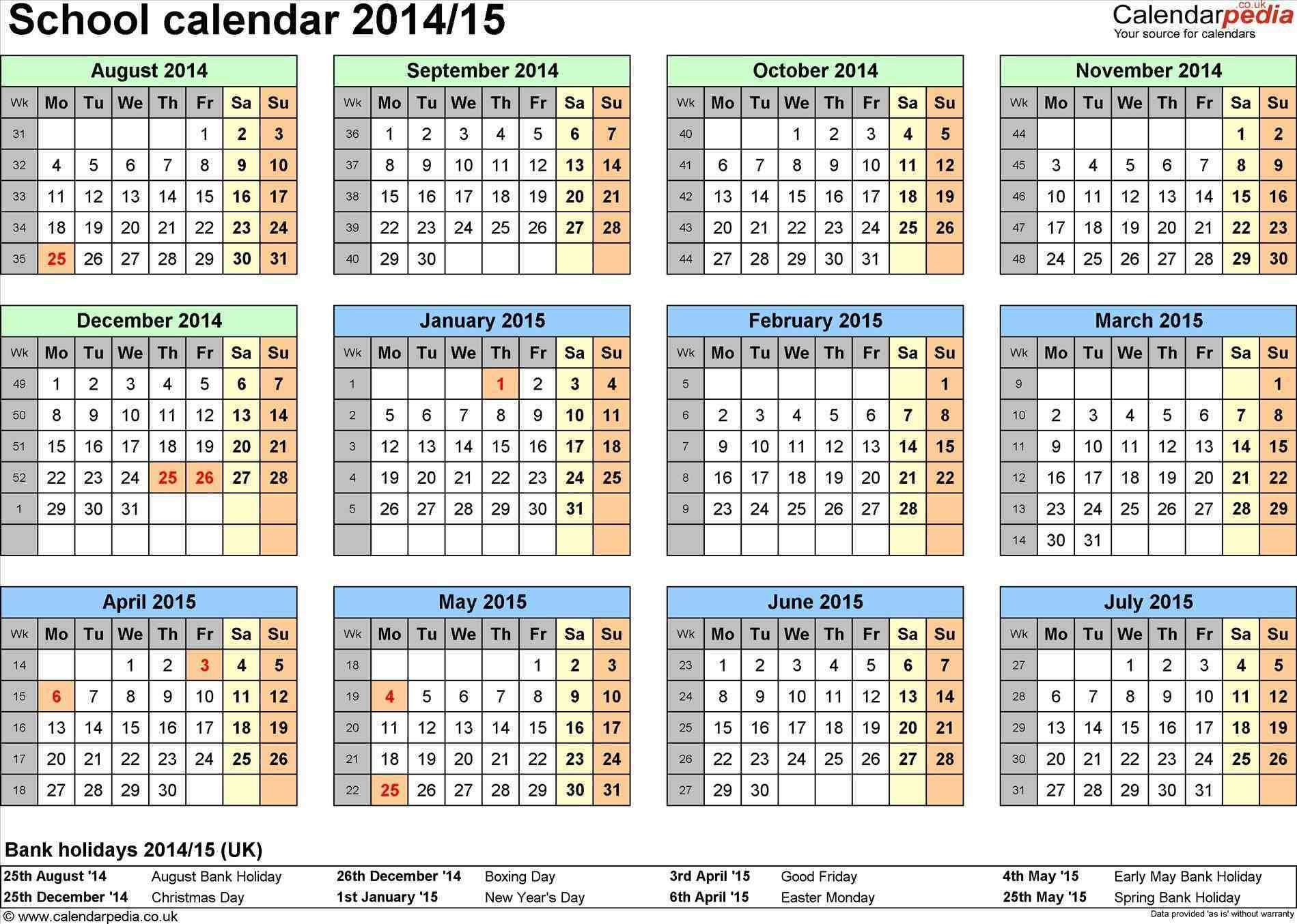 Calendar 2014 15 Template Year Calendars For U Uk Excel School