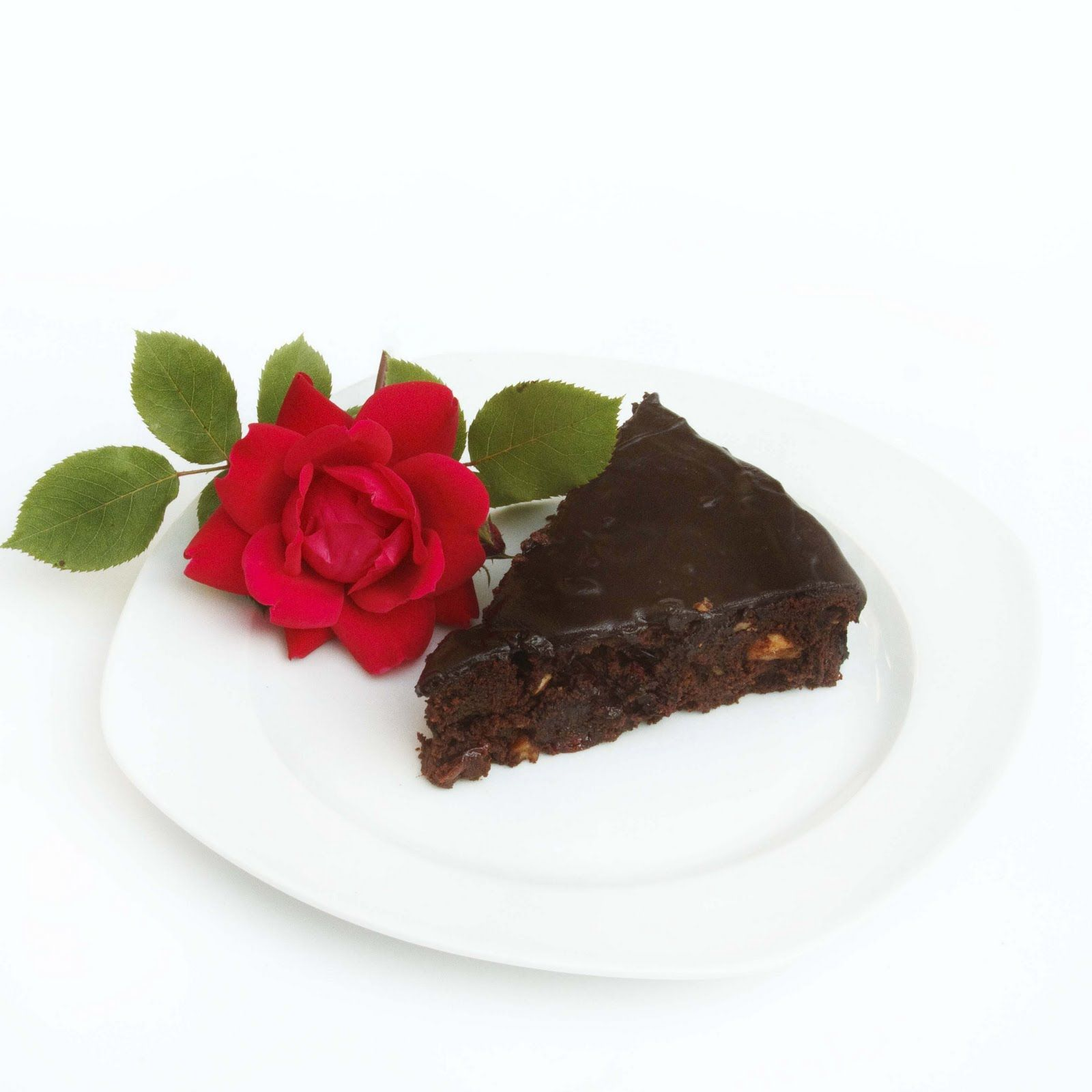 chocolate torte with fruit and nuts