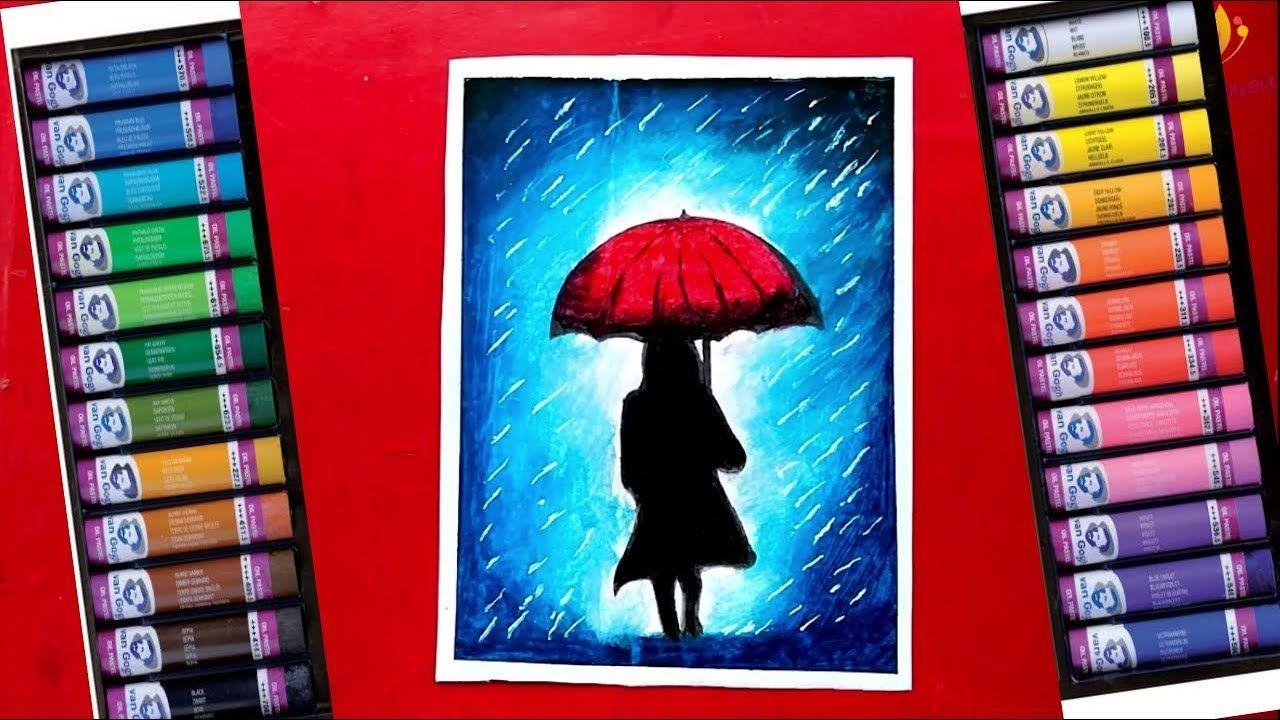 Pin on Rainy Season Drawing Oil Pastels Drawing Girl