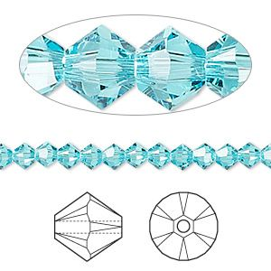 Bead, Swarovski crystal, Crystal Passions®, light turquoise, 4mm Xilion bicone (5328). Sold per pkg of 144 (1 gross).