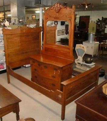 antique oak bedroom set 83 inch tall dresser mirror and bed oak