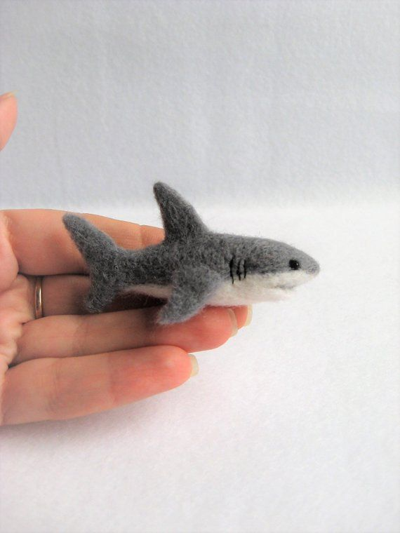 Needle Felted Shark. Miniature Toy #needlefeltedbunny