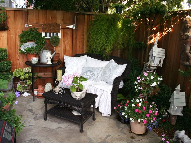 Just because you rent doesn't mean you can't have a lovely outdoor space. Rate My Space contributor single_mom_on_budget turned an empty apartment patio into a cottage garden using plenty of plants, accessories and linens.