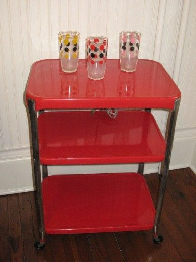 Vintage Cosco 3 Tier Rolling Metal Cart By Sunporchonlilaclane