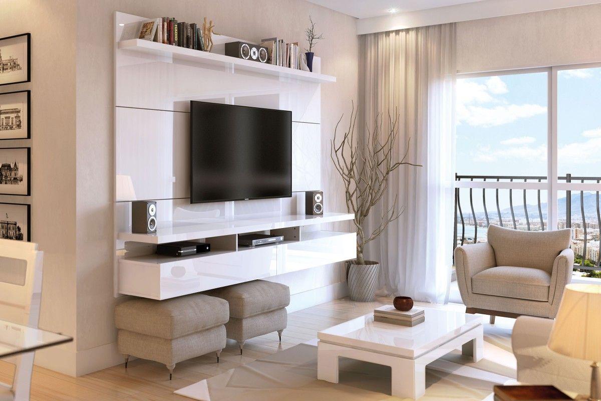 Rack Para Sala Pequena Branco ~ Painel para TV City Branco Gloss 22  Província  Home Theater