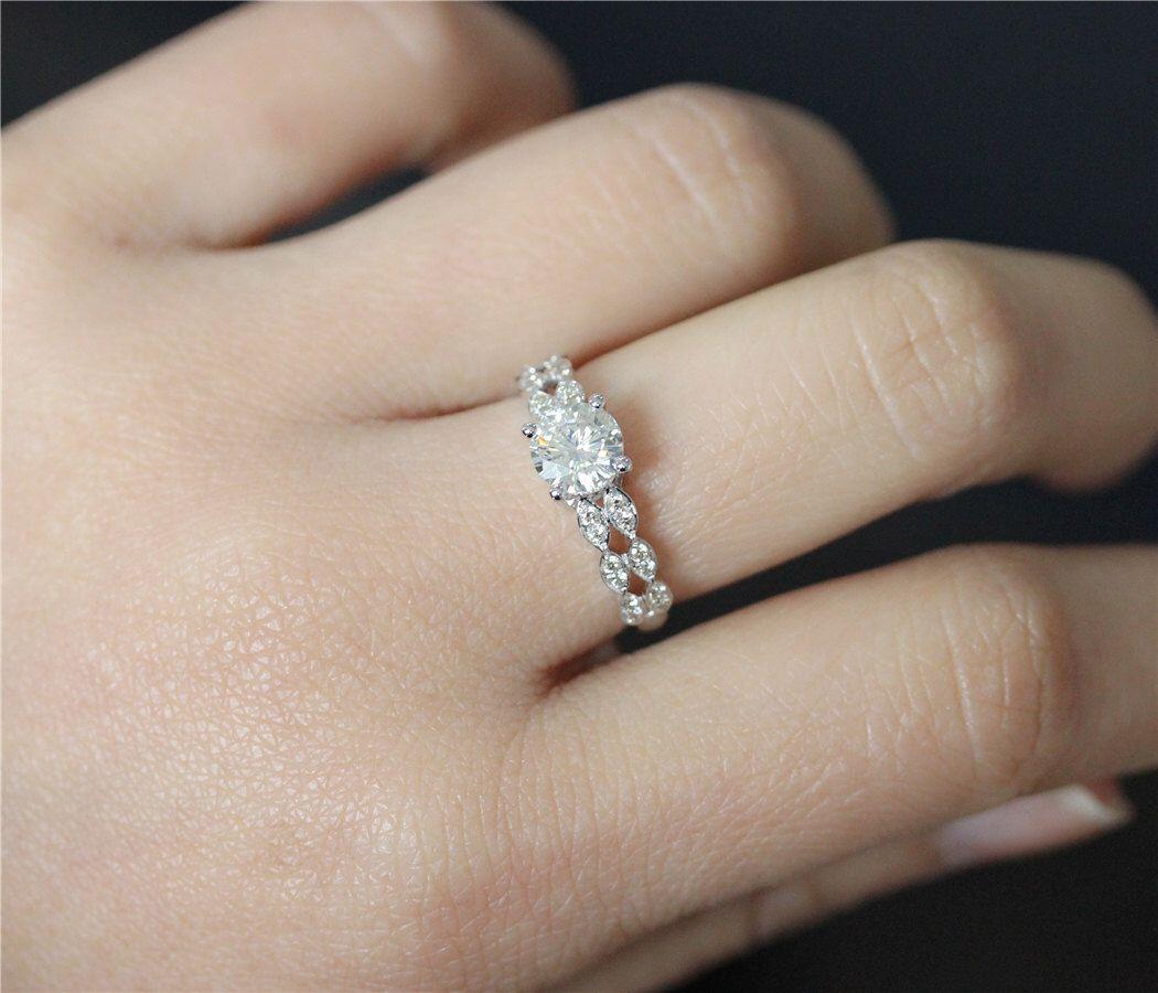 Brilliant moissanite engagement ring mm round cut fb moissanite