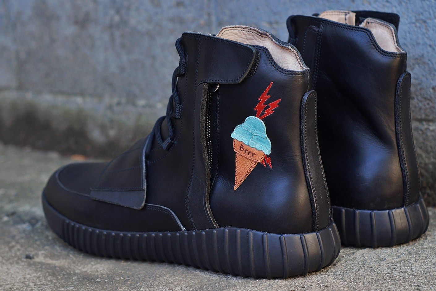 18ef9aa7b843 JBF Customs Yeezy BOOST 750 Ice Cream Decor Gucci Mane Black Leather Water  Resistance Veg Tanned Leather Mint Suede