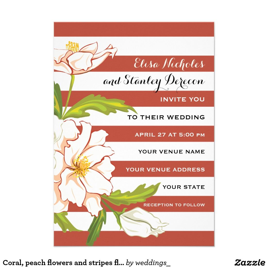 Coral, peach flowers and stripes floral wedding invitation ...