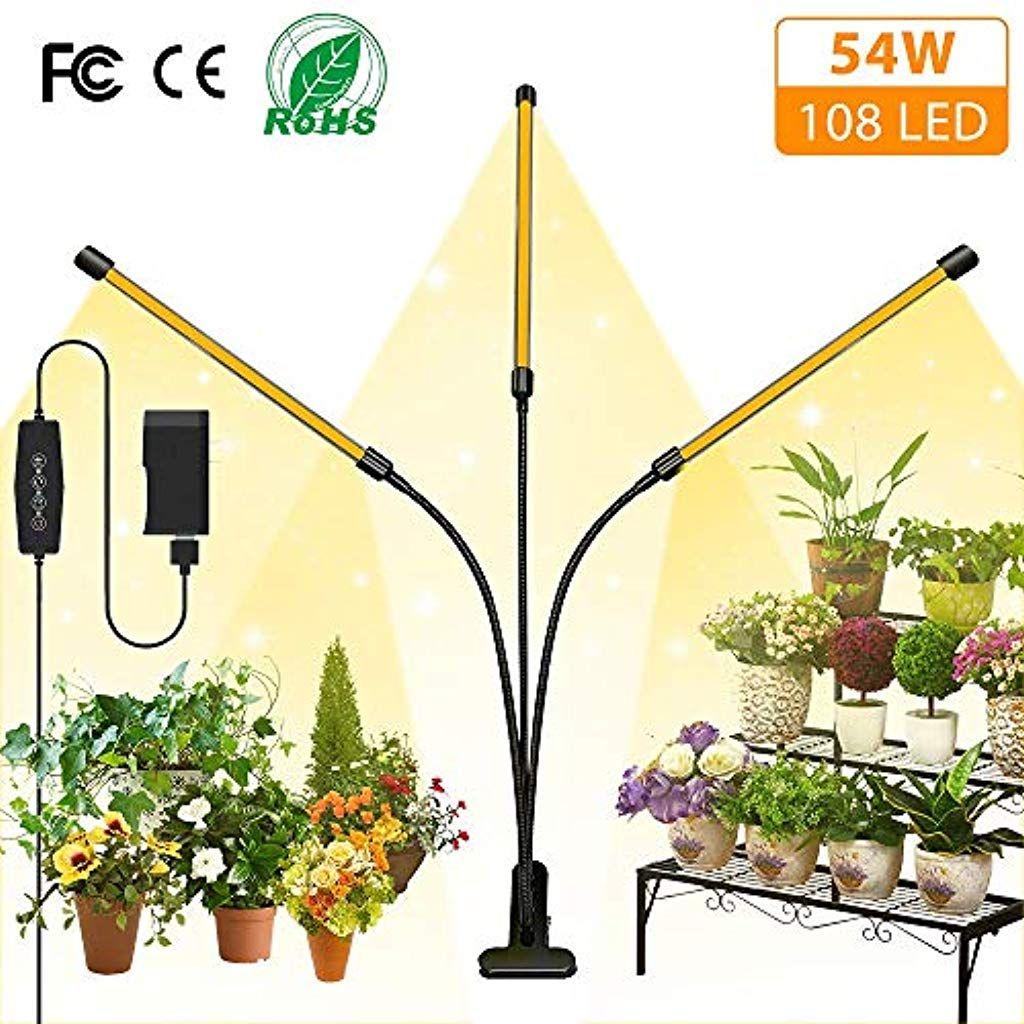 Lngoor Pflanzenlampe Led 54w Pflanzenlicht 3 Heads 108 Leds Pflanzenleuchte Wachstumslampe Wachsen Licht Vollspektrum Fur In 2020 Pflanzenlampe Pflanzenleuchte Lampen