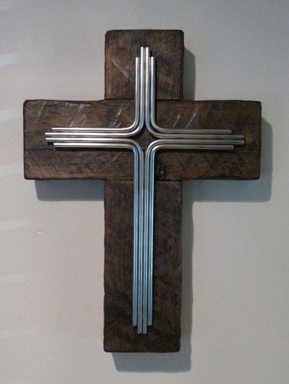 Steel And Wood Wall Cross Crosses Wall Crosses Cross Wall Art
