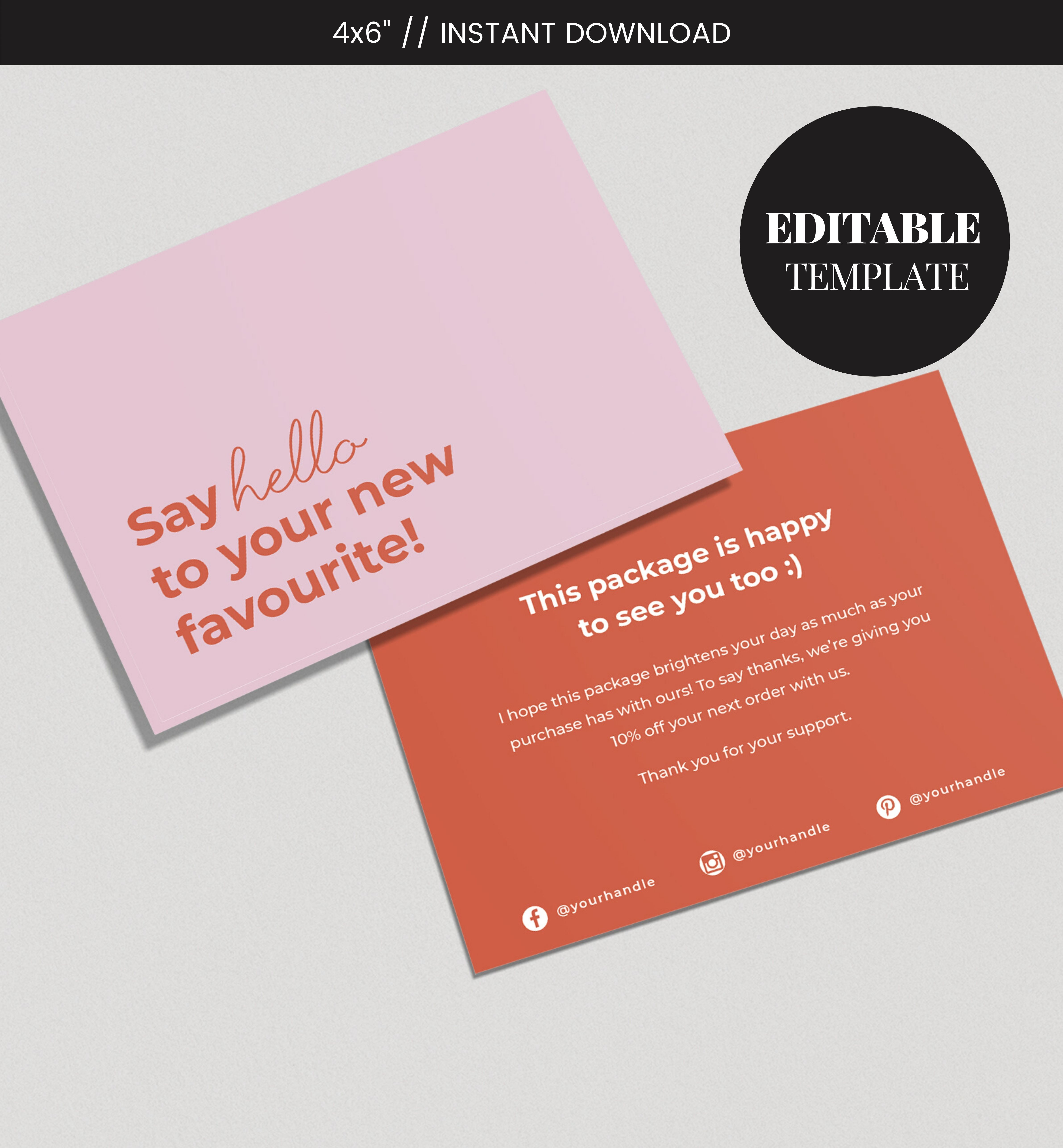 Editable Business Thank You Card Printable Cute Thank You Card Thanks For Your Purchase Small Business Thanks Customer Thank You Kartu Nama Bisnis Kartu Nama Ide Kemasan