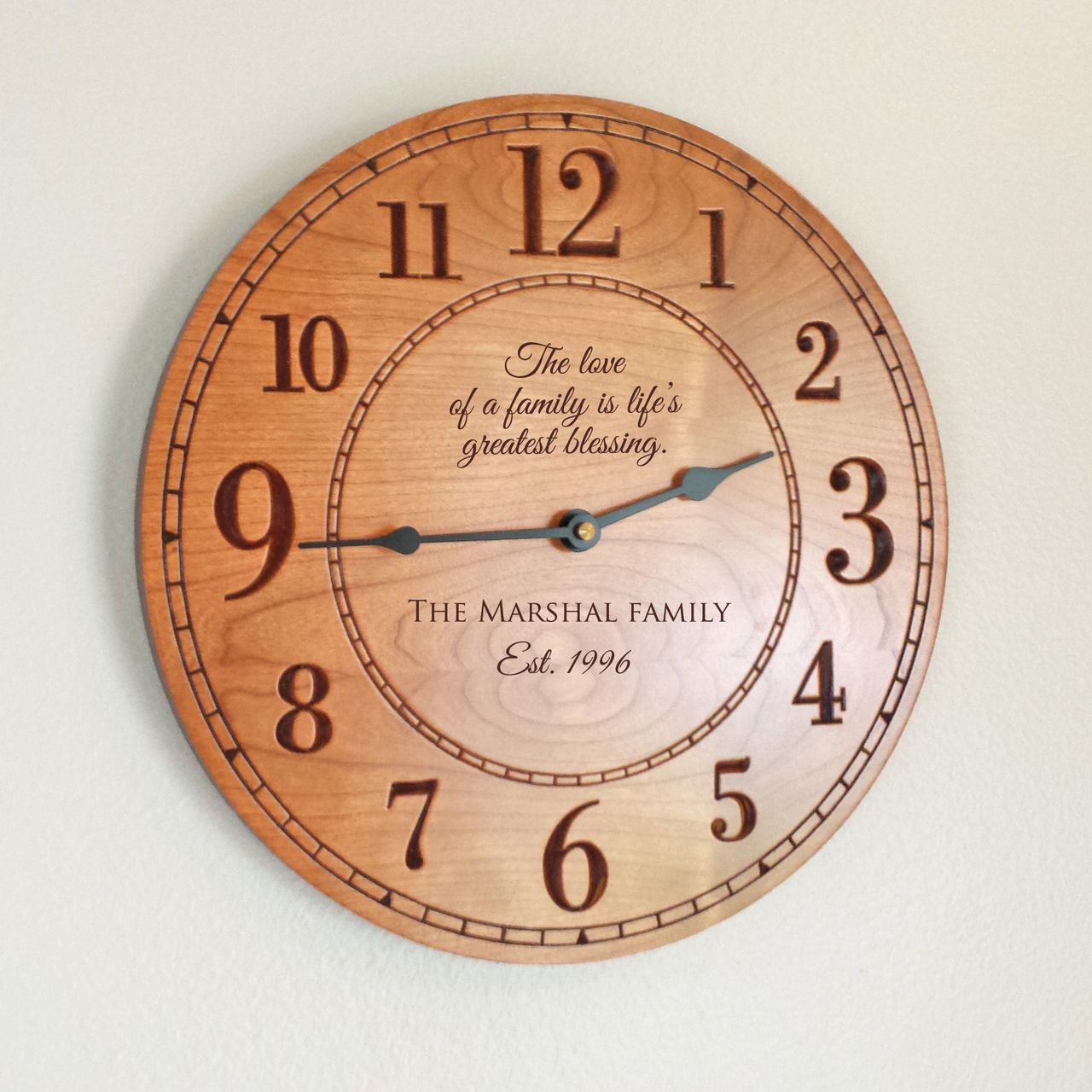Custom wall clocks personalized personalized family wood clock wood clocks clocks and woods amipublicfo Gallery