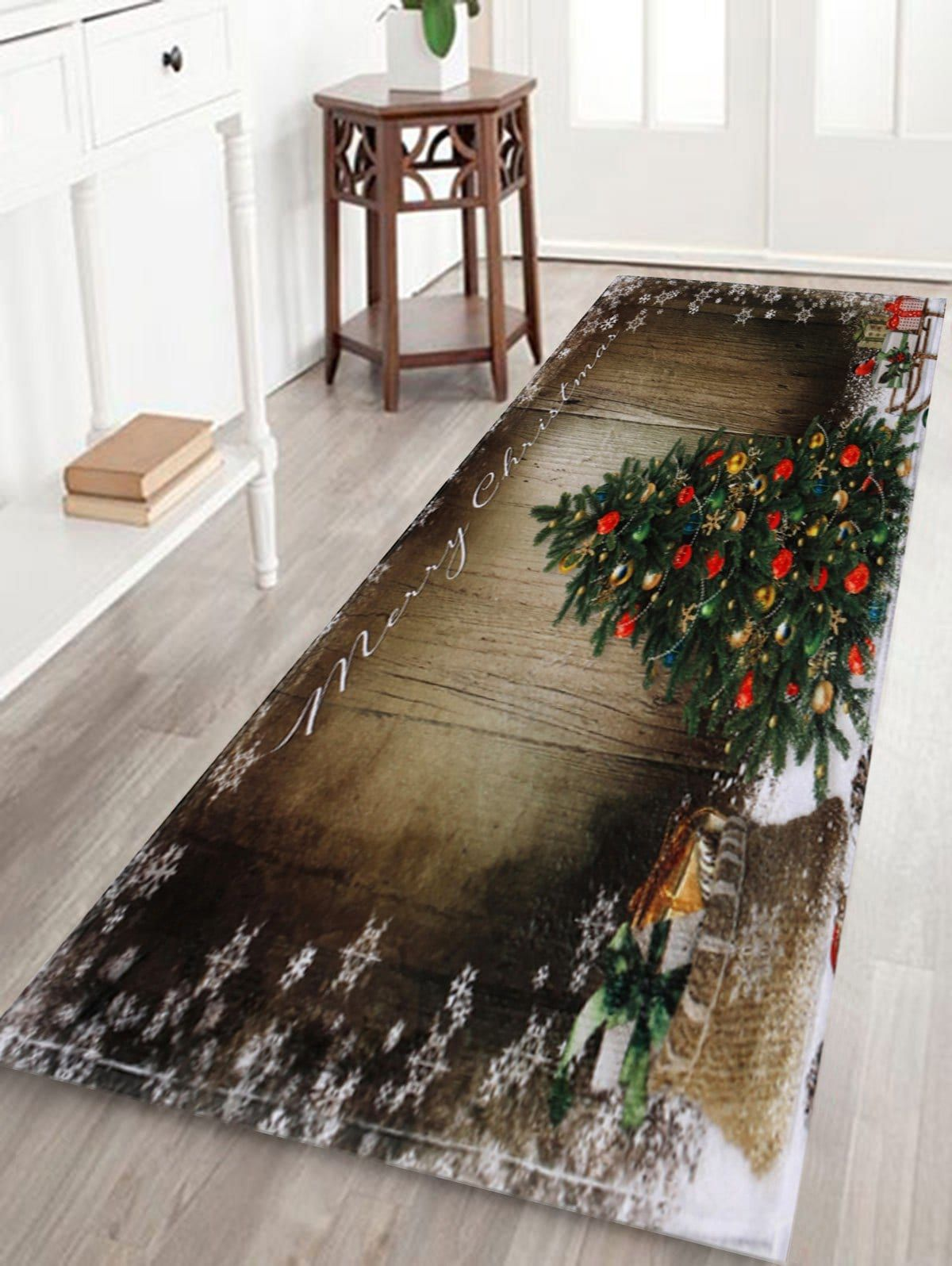 Christmas Runner Rugs.Bathroom Skidproof Christmas Tree Area Rug Christmas Decor