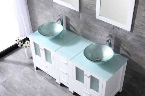 60 White Bathroom Vanity Cabinet Optional Double Sink Tempered