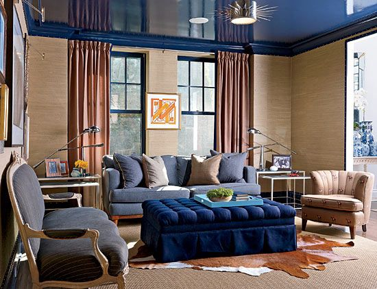 chicago. the super-shiny blue ceiling in the study is a nod to the
