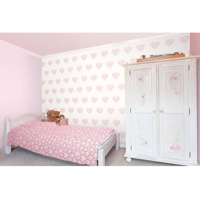 Best Carousel Pearlescent Hearts Wallpaper Pink White Baby 400 x 300