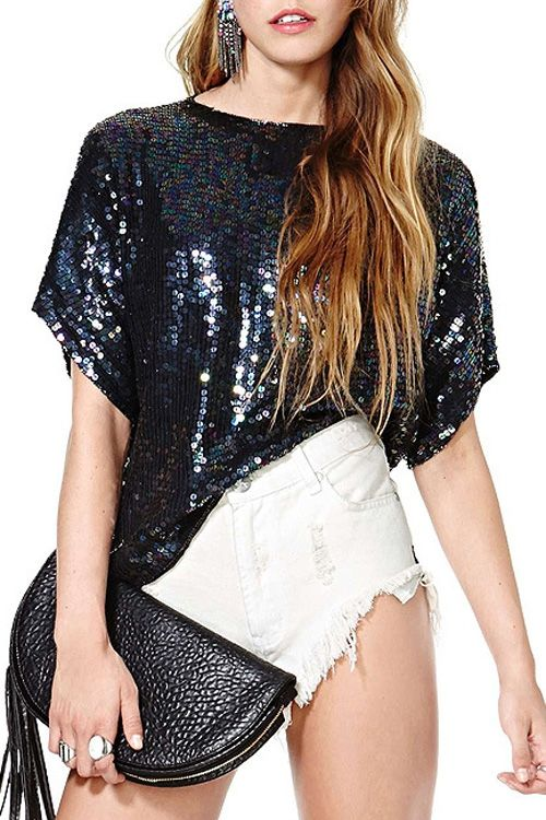 Short Sleeve Sequined T-Shirt